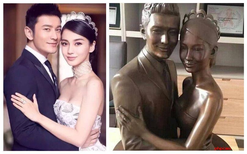 黄晓明办公室曝光 教主和baby的逼真铜像让网友炸开了锅